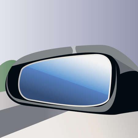 Rear view mirror.Blue glass.Vector illustration Ilustração