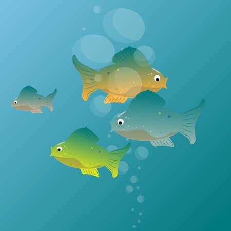 School of fish.Underwater world background.Vector illustration Illustration