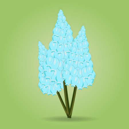 녹색 배경에 파란색 꽃 앵 꽃의 꽃다발. 벡터 일러스트 레이 션