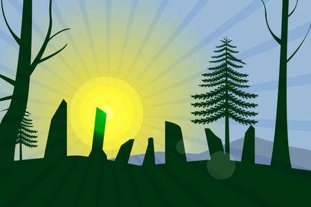 Antient cromlech at morning light.Vector illustration Illusztráció