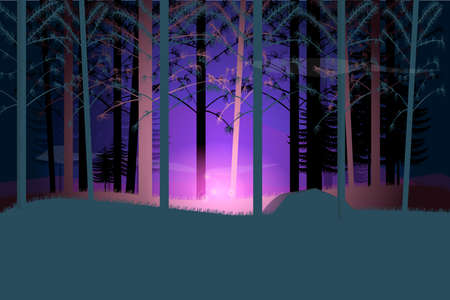 Magical flower glow at night forest.Vector illustration