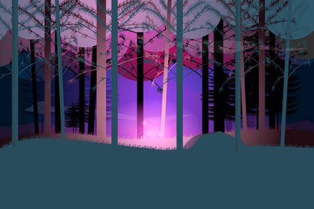 Fairy forest with magic flower at night.Vector illustration