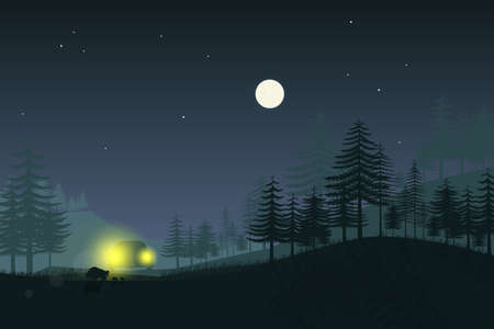 Wild boar family in the light of car headlights.Vector illustration