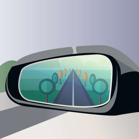 Rear view car mirror with road in reflection.Vector illustration