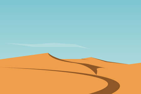 Yellow desert sand dunes landscape background. Flat vector illustration. 免版税图像 - 94656338