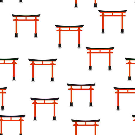 Seamless pattern with torii. Background with Japanese national symbols and elements. Illustration
