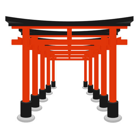 Torii gate - symbol of Shintoism. Flat isolated vector illustration.