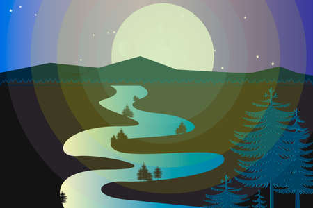Natural landscape.  Vector illustration of wild coniferous wood with river in full moon night. 向量圖像
