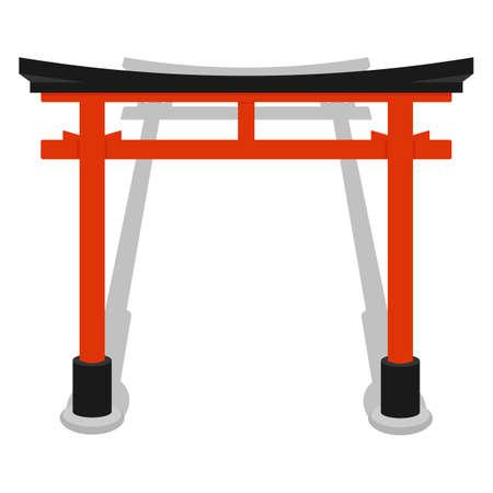 Torii Gate Symbol Of Shintoism Flat Isolated Vector Illustration
