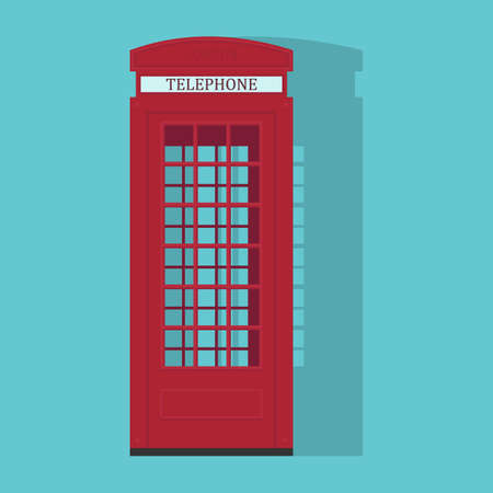 London red phone cabin with shadow. Flat vector illustration.