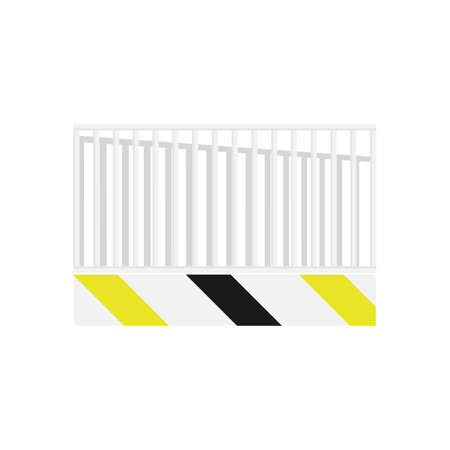 Metal fence with border in flat style isolated on white background.