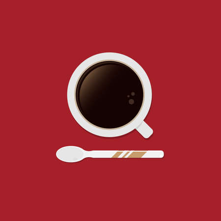 White cup of coffee with spoon on red background. Top view. Flat vector illustration. Illustration