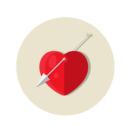 Heart pierced by an arrow of love. Flat circle icon. Beige background illustration. Illustration