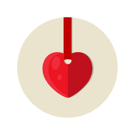 Heart on a red ribbon. Vector icon isolated illustration.