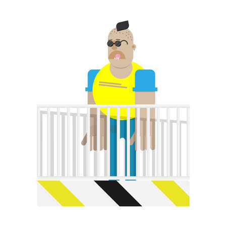Skinhead character over the fence isolated. Football hooligan. Angry bad bully. Flat vector illustration.