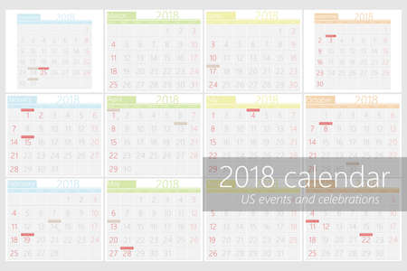 2018 calendar with american event in flat design.For print or web vector template