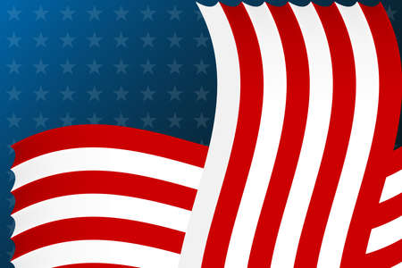 Stylized flag of usa.Ribbons and stars vector background