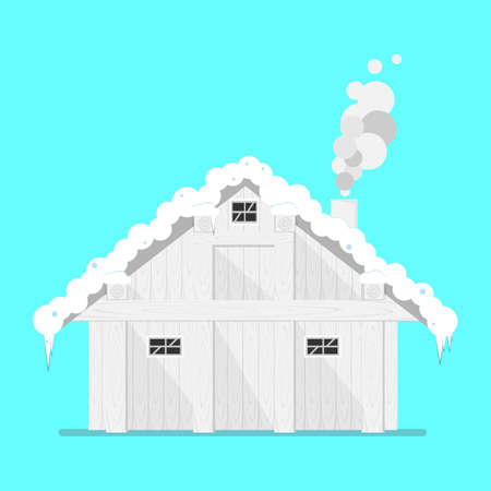 House in old style under snow isolated.Legacy north home.Wooden wall.Flat vector illustration