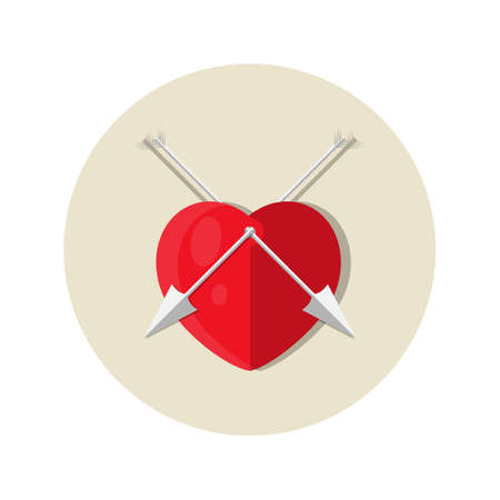 Heart with arrows flat circle icon