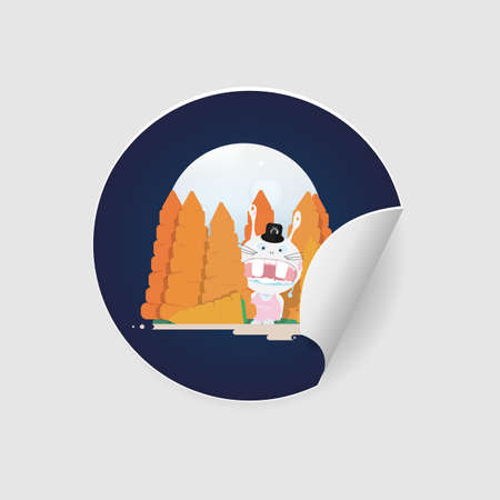 Sticker with easter funny mad rabbit in carrot forest.Cartoon character isolated