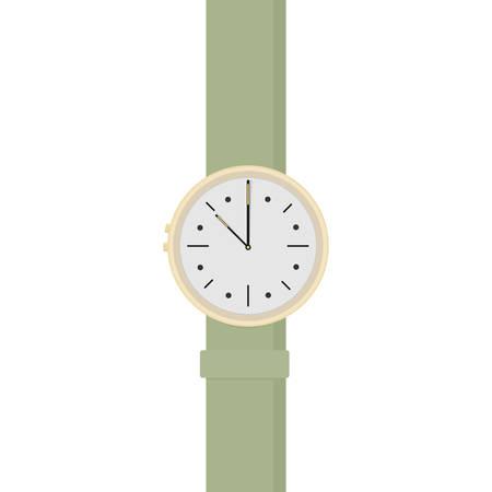 Golden wrist watch with green bracelet isolated.Flat designe.Vector illustration Ilustração