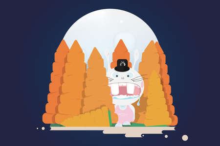 Rabbitzilla coming out from carrot forest.Full moon night.Funny cartoon illustration Illustration