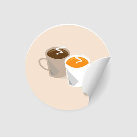 Coffee circle sticker with two cups isolated Illustration