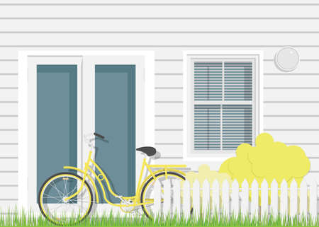 Detailed flat design facade of the rural pale house with yellow bicycle. Front door of real estate.