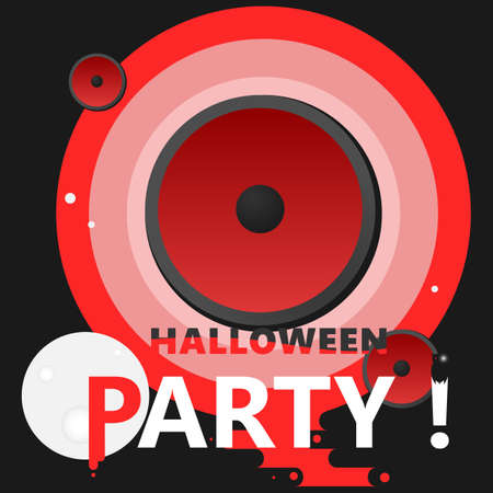 Halloween party bloody poster with moon and owl Illustration