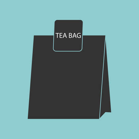 Tea bag icon isolated on blue background