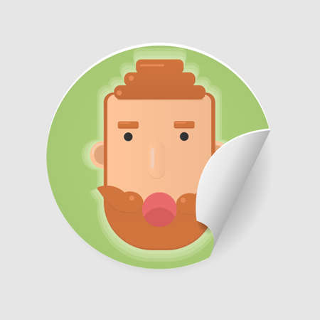 Redhead hipster face with mustache and beard sticker isolated