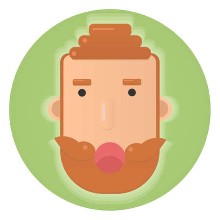 Redhead man with beard and mustache.Flat circle icon.Irish flag background