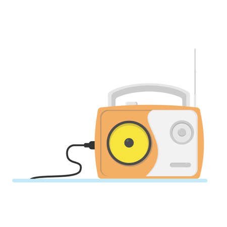 Orange vintage radio in flat style.Isolated on white