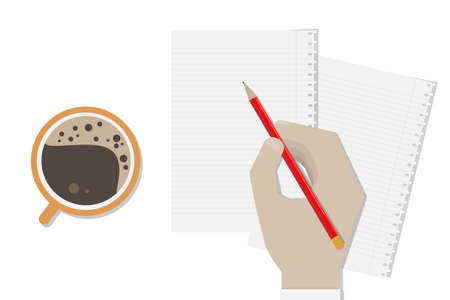Businessman hand writing to blank note.Working at office.Coffee break.