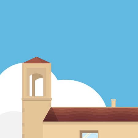 Mediterranean old house exterior.Building in flat design Stock Illustratie
