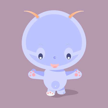 Cute purple cartoon character.Little funny monster.Baby beast
