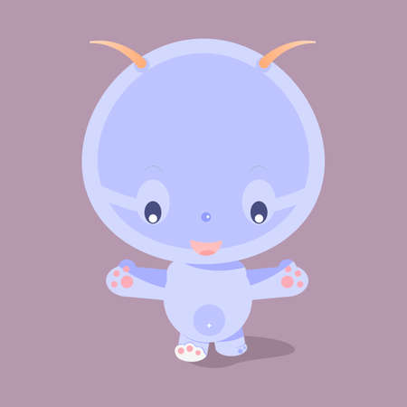 Cute purple cartoon character.Little funny monster.Baby beast