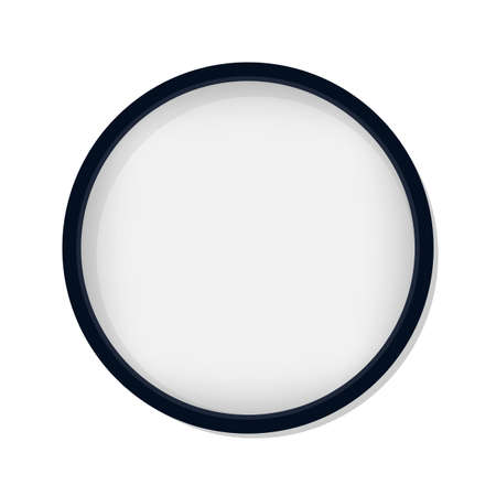 Circle blank picture frame isolated on white background.Editable mock up.Design template Vettoriali