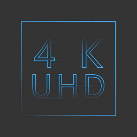 4 K neon sign.Blue symbol on dark background Illustration