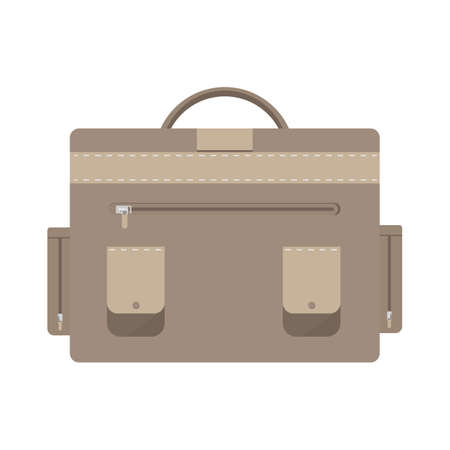 Brown backpack isolated on white background.Flat design vector illustration
