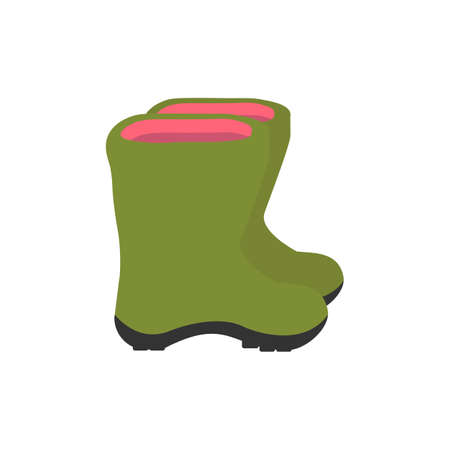 Green boots. Side view Vector illustration. Illustration
