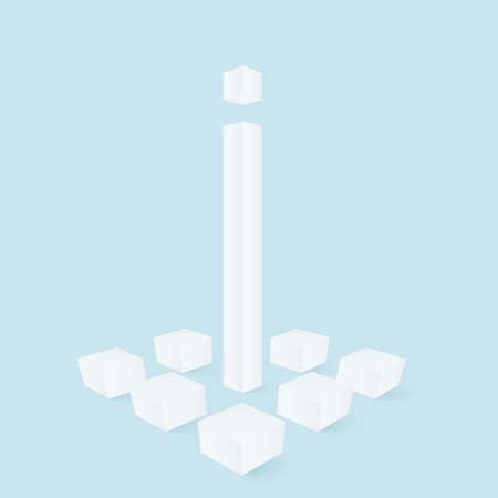 White pillar among cubes. Abstract vector illustration for high tech design.