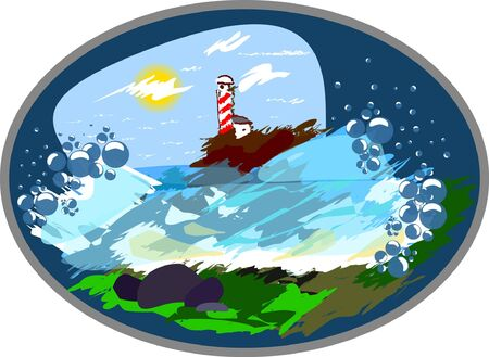 holiday at the sea plate, landscape near the coast Stock Vector - 16246818