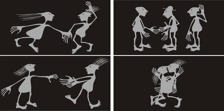baile caricatura: Vector de personas estilizadas.