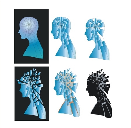 Abstract vector composition illustrating humans negative emotions and feelings Illustration