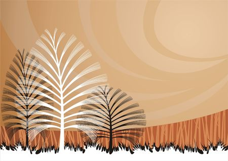 background with artistic trees. Illustration