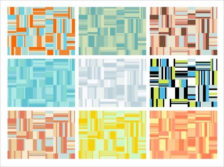 Patr�n de formas geom�tricas abstractas. Archivo contiene nueve variaciones de color diferente
