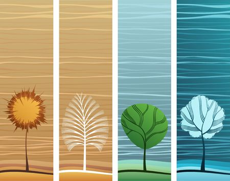 Four different design and colors nature theme banners Stock Vector - 6894843