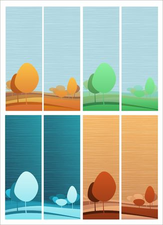 Two nature theme vertical banners with four color variations for each Stock Vector - 6894841