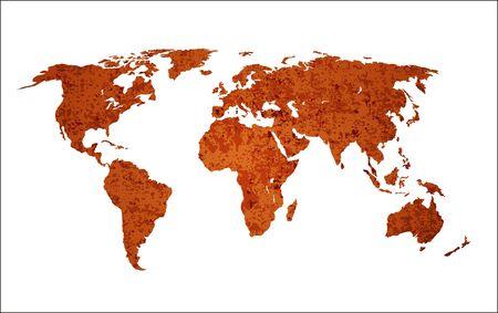 Geïsoleerde wereldkaart met drie verschillende grunge lagen